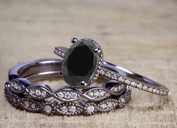 2 Carat Oval Black Diamond Engagement Ring with 2pcs Vintage Ring Band in 10k B