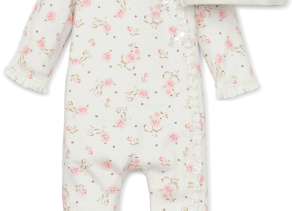 Baby Girls Vintage Rose Infant Footie Pajamas with Matching hat - Ivory Print F