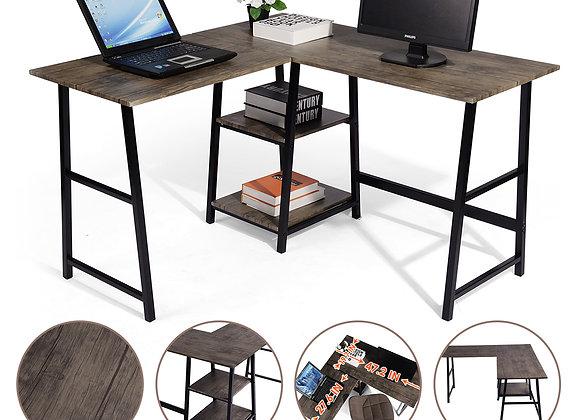 FurnitureR L-Shaped Corner Computer Desk with Open Shelves Wood and Metal, Vint
