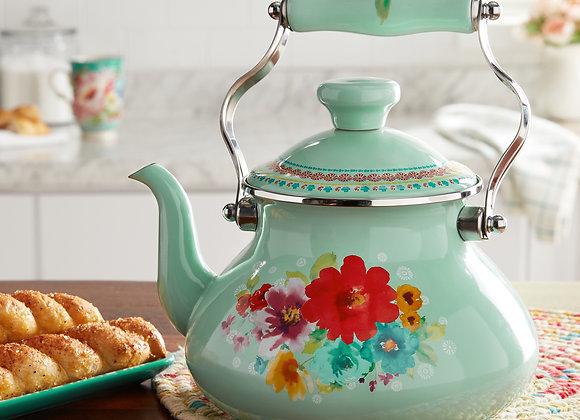 The Pioneer Woman Breezy Blossom Enamel on Steel 1.9-Quart Tea Kettle