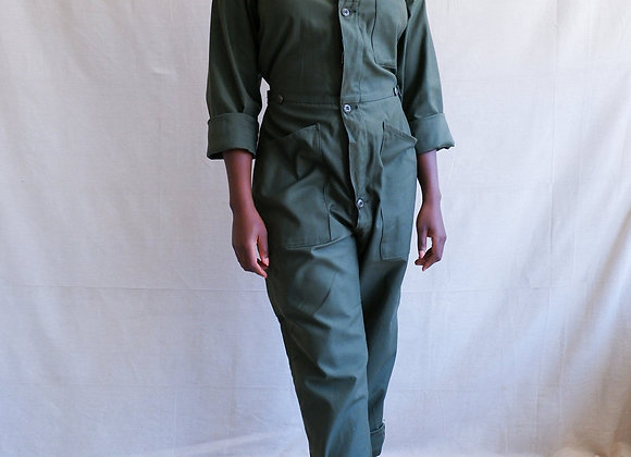 Vintage Green Army Coveralls Distressed Fitted Coveralls Green Cotton Sateen Mi