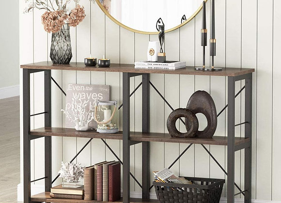 Tribesigns Rustic Entryway Console Table, 3-Tier Vintage Industrial TV Stand, E