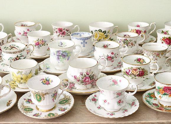 Mismatched Tea Cups and saucers, Vintage Teacups, Job Lot Tea Cups, English Tea