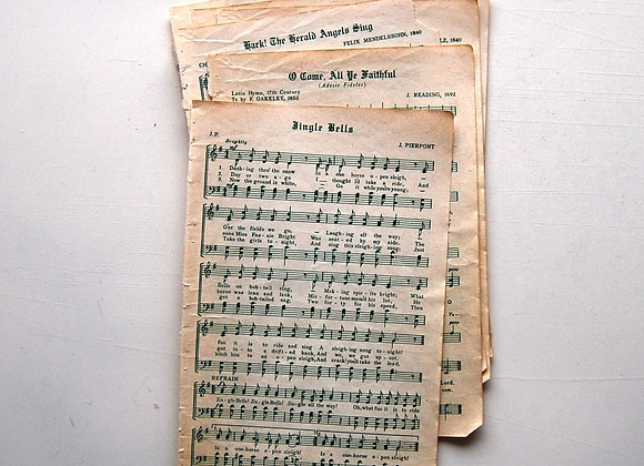 Vintage Christmas, Holiday Sheet Music Pack, 5 Pages        Buy together, get f