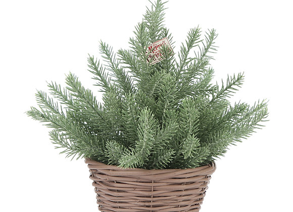 Holiday Time Brown Wicker Basket Evergreen Tree Table Top Christmas Decoration,