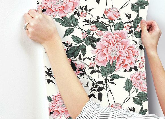 Vintage Floral Pink Peel & Stick Wallpaper by Drew Barrymore Flower Home