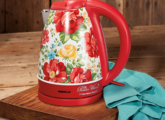 The Pioneer Woman Vintage Floral/Red Electric Kettle, 1.7-Liter