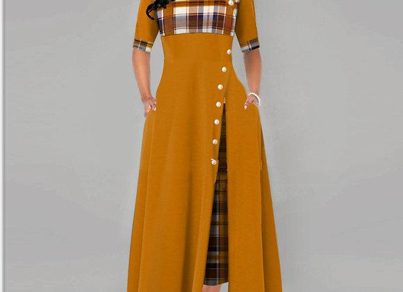 Women Vintage Casual Plaid Print Button Fashion Half Sleeve Dresses