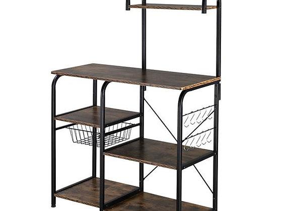 "Vintage Kitchen Baker's Rack Utility Storage Shelf 35.5"" Microwave Stand 4-Tier"