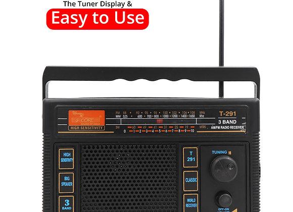 Radio Retro Transistor Best Reception Antenna Sound AM FM 3 Band Portable Analo