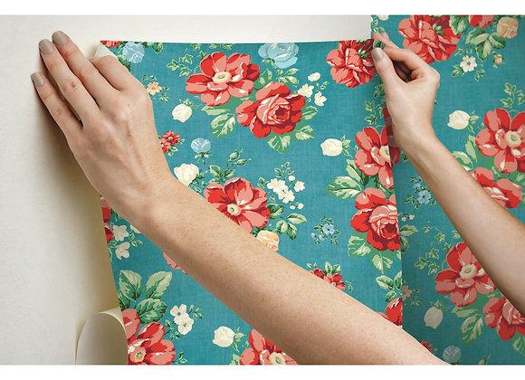 "The Pioneer Woman Dark Teal Vintage Floral Peel and Stick Wallpaper, 18"" x 18.8"