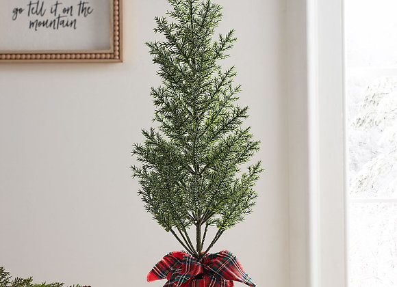 """Holiday Time Plaid Wrapped Pine Tree Tabletop Christmas Decoration, 24"""""""