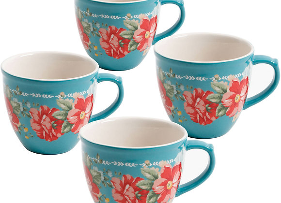The Pioneer Woman Vintage Floral 4-Piece Mug Set, 16 fl oz