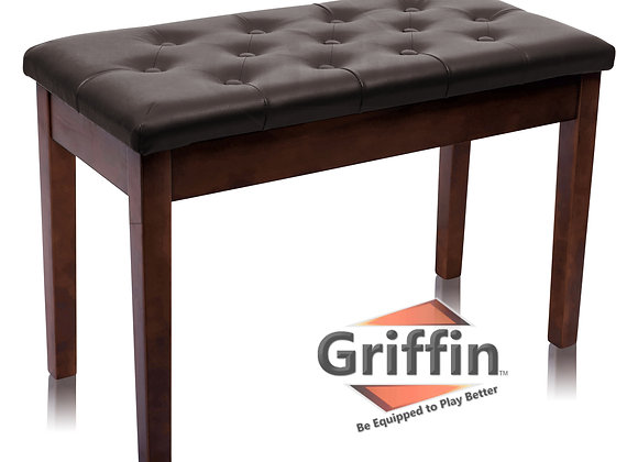 Griffin Double Brown Leather Piano Bench – Vintage Design, Heavy-Duty & Ergon