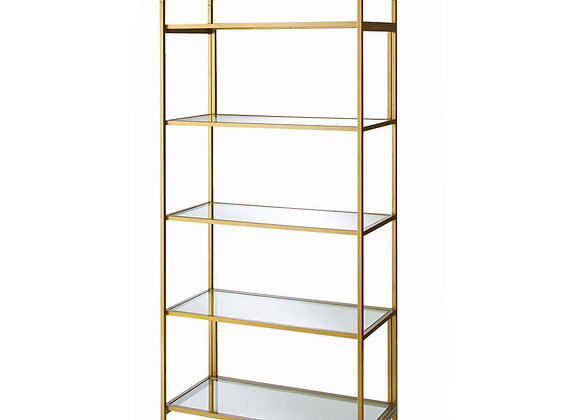 """Better Homes & Gardens 71"""" Nola 5 Tier Etagere Bookcase, Gold Finish"""