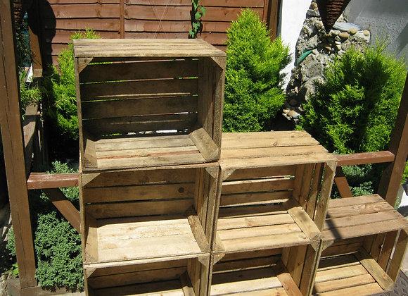 Vintage Wooden Apple Crate, Rustic Wood Box, Wedding Decor, Farmhouse Log Stora