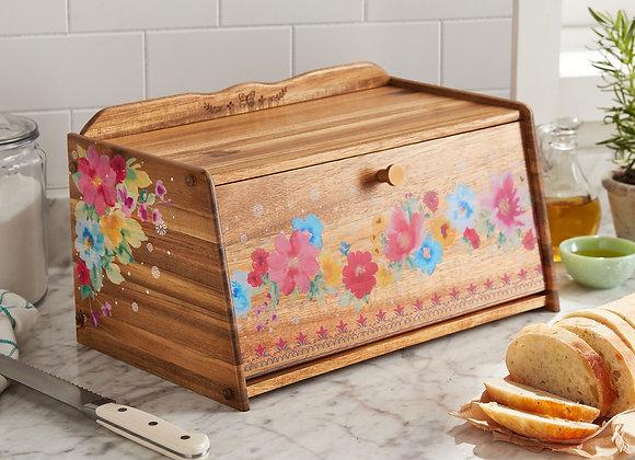 The Pioneer Woman Brown Acacia Bread Box