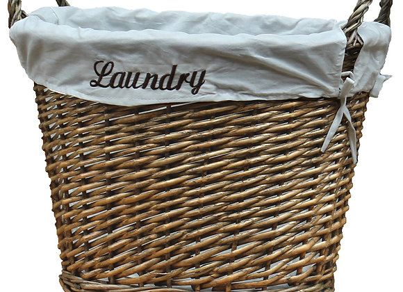 Wicker Laundry Basket with White Liner