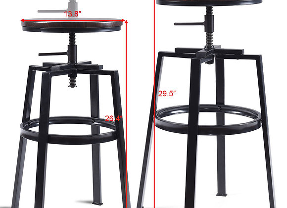 Costway Set of 2 Vintage Bar Stool Adjustable Wood Metal Design Pub Chairs Indu