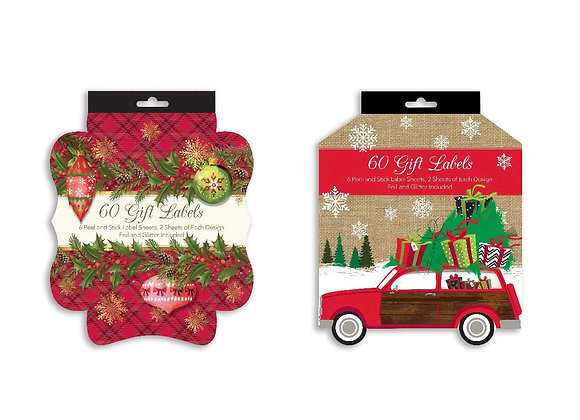Bundle of 120 Die-Cut Peel & Stick Christmas Gifting Labels, Holiday Gi
