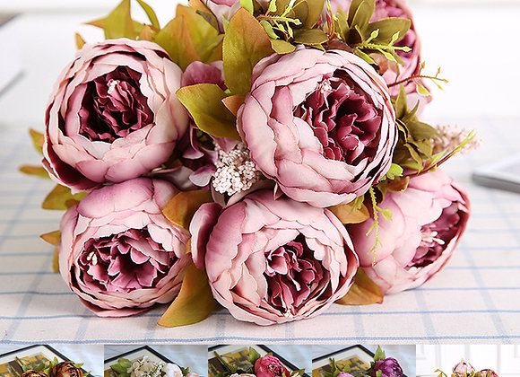 Vintage Artificial Peony Silk Flowers Bouquet for Wedding Party Office Hotel an