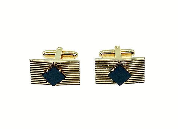 Dante Cuff Links, Vintage Goldtone Cufflinks, Rectangular Cufflinks with Diamon