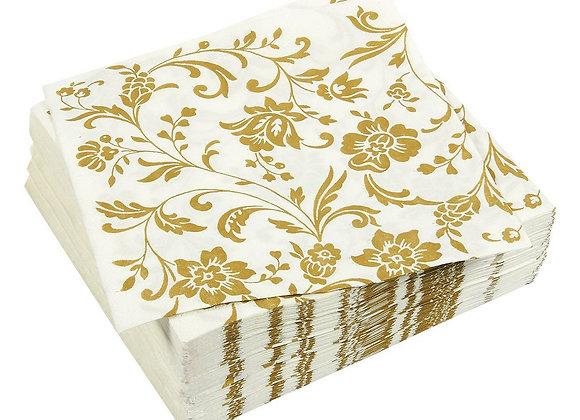 100-Pack Gold Dinner Decorative Paper Napkins, 2-Ply Vintage Floral Disposable
