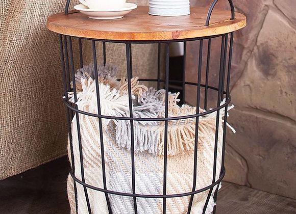 Wood Top Storage Basket Side Table
