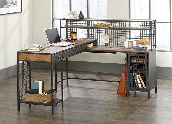 Better Homes & Gardens Lindon Place L-Shaped Desk with Cage, Vintage Oak Finish
