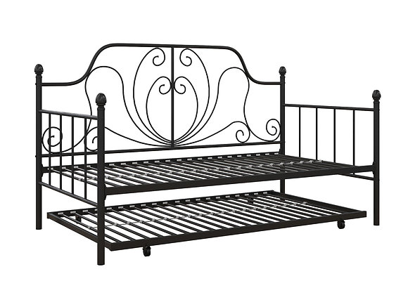 DHP Ivorie Metal Daybed with Trundle, Twin/Twin Size Frame, Black
