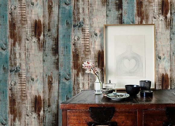 Vintage Woods Panel Wallpaper Rolls Blue/Brown Peel and Stick Wall Paper Murals