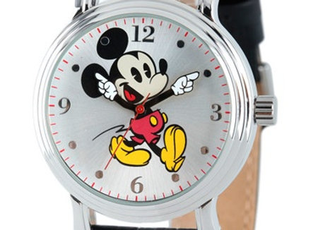 Mickey Mouse Women's Shinny Silver Vintage Articulating Alloy Case Watch, Black