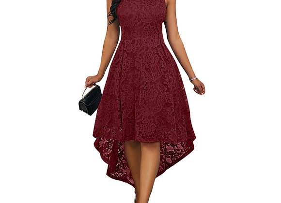 Besufy Women Vintage Plus Size Solid Lace High Low Sleeveless Dress