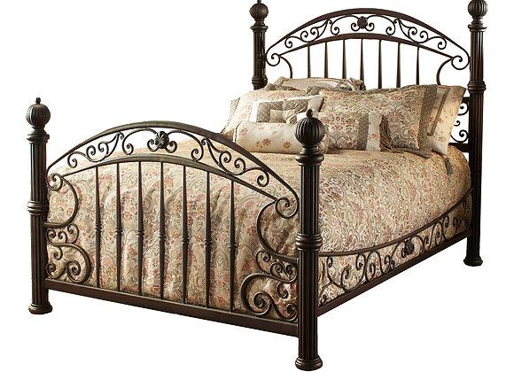 Hillsdale Furniture Huntley Vintage Metal Panel Bed, Queen, Dusty Bronze/Gold