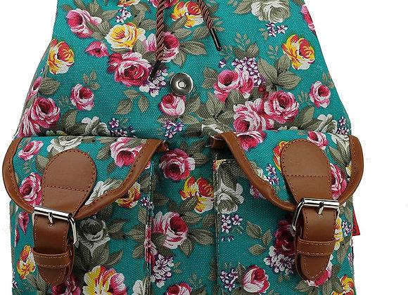Vintage Women Canvas Travel Satchel Shoulder Bag Backpack Rucksack - Floral Teal