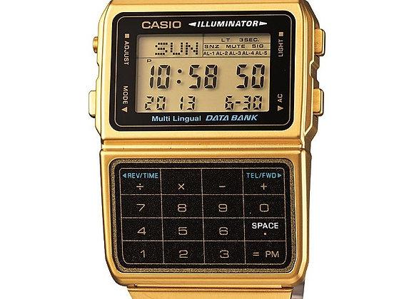 Casio Men's Gold-Tone Vintage Calculator Watch DBC611G-1VT