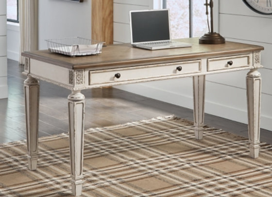Signature Design by Ashley Realyn Vintage Two-Tone Home Office Desk with USB Ch