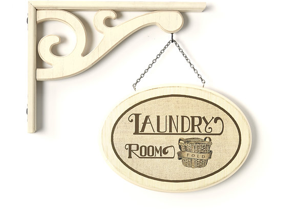 """Hanging Farmhouse Sign """"Laundry Room"""" with Vintage Style Laundry Room Decor"""