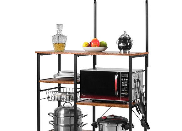 Costway 4-Tier Vintage Kitchen Baker's Rack Utility Microwave Stand W/ Basket &