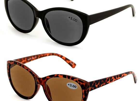 V.W.E. Vintage Cat Eye Outdoor Women's Reader Sunglasses, Black/Brown, 2 Pair