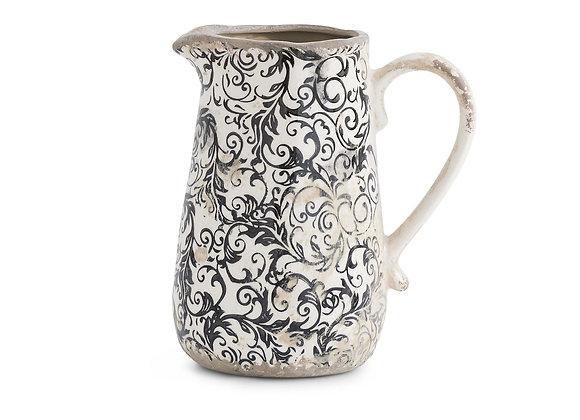 7 Inch Vintage Black and White Ceramic Vase, Distressed Rustic Elegant Weathere