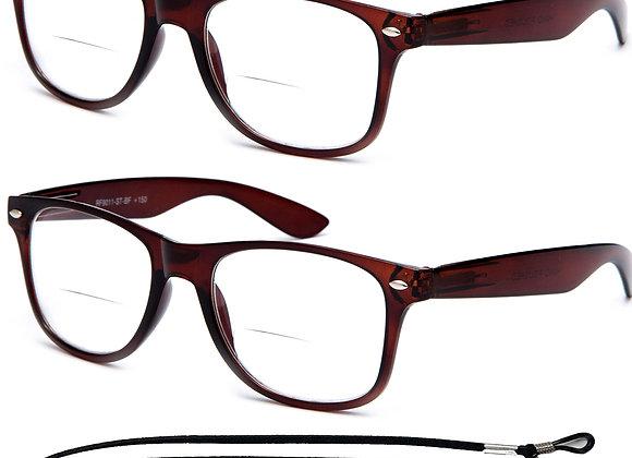 Newbee Vintage Style Unisex Bifocal Reading Glasses, Large, 2 Pack