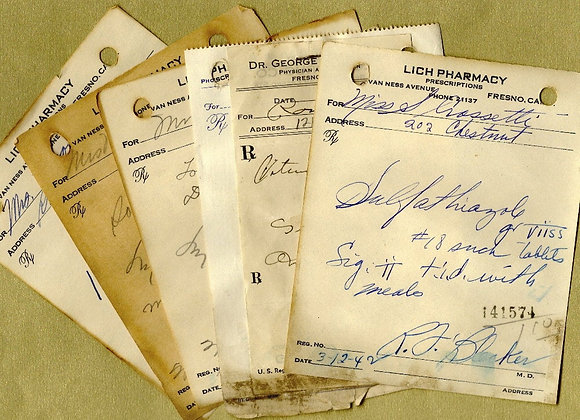 Vintage Handwritten Pharmacy Prescriptions for Collage, Paper Arts,  Mixed Medi