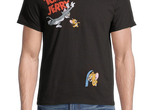 Tom and Jerry Men's Vintage-Inspired Cartoon Graphic T-Shirt, Sizes S-2XL