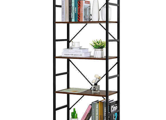 5-Tier Tall Bookcase Rustic Wood and Metal Standing Bookshelf Industrial Vintag