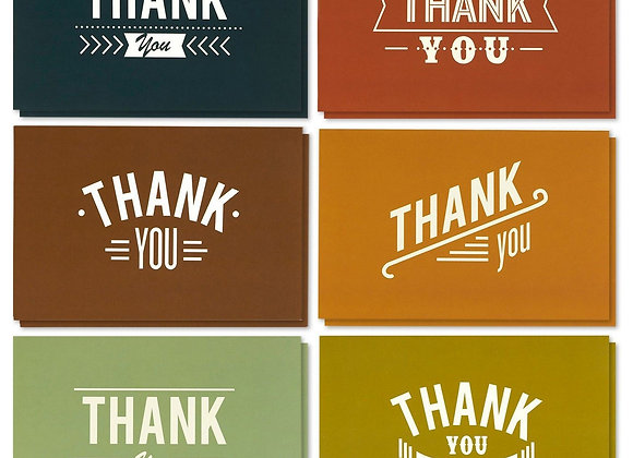 48-Count Thank You Cards and Envelopes, Blank Thank You Greeting Notes Bulk Set