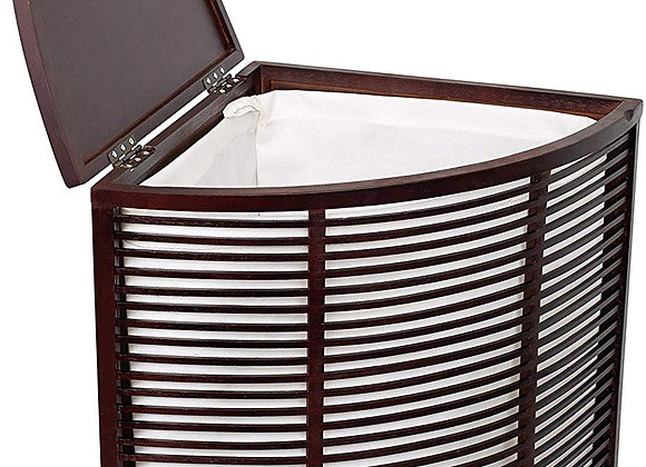 BirdRock Home Compact Corner Laundry Hamper with Lid and Removable Liner - Smal