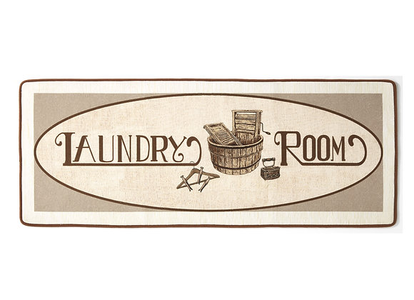 Vintage Design Laundry Room Accent Runner Rug with Nonslip Backing