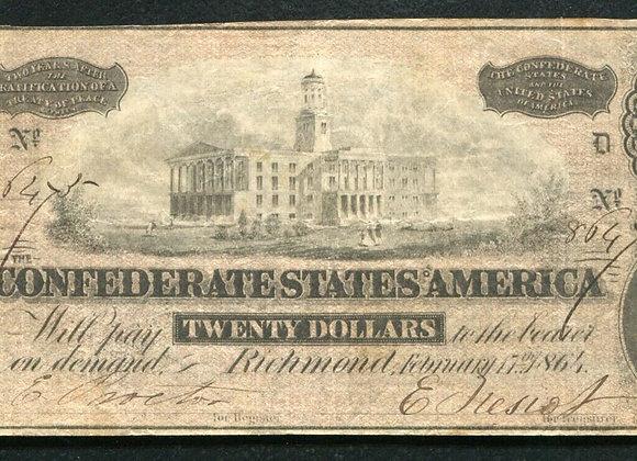 1864 Civil War CSA Confederate States of America 20 Bill Antique Note Money Cur
