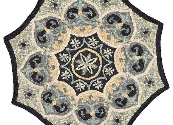 LR Home Hand Tufted Spades Black Gray Wool 6 Ft. Round Indoor Area Rug
